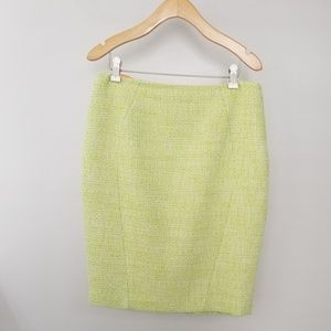 T Tahari Green Tweed Pencil Skirt sz 6